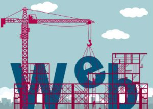 Building a business website construction site illustration