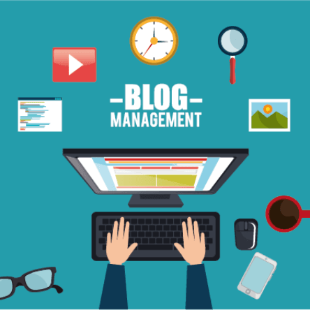 Local SEO web design posts blog management graphic